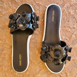 Nine West Rignall 3D Floral Slides Sandals 10